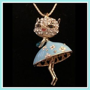 Cat In a Dress Necklace with Movable Head & Legs